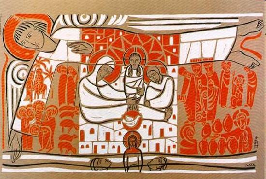 La Nativité - Claudio Pastro est un artiste brésilien contemporain.  Ce panneau est surprenant, puisqu'il ne se contente pas de mettre en scène la nativité, mais il met en image, sur cette fresque, une grande partie des mystères de la vie du Christ jusqu'au début de sa vie publique.